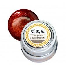 Гель YRE цветной 7гр оранжевый с мультиблестками (металлическая баночка)