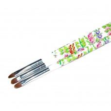 Кисть для геля белая ручка с цветами полукруглый ворс №6