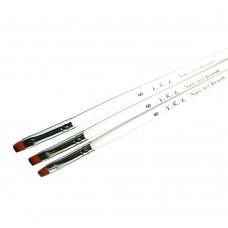 Кисть для геля белая ручка прямой ворс №08
