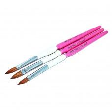Набор кистей 3шт для акрила №8 (бело-розовая ручка)