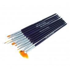 Набор кистей 10шт для рисования сиреневая ручка