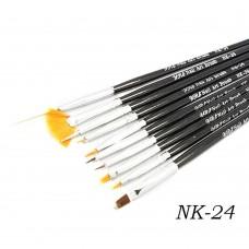 Набор кистей 10шт для рисования черная ручка