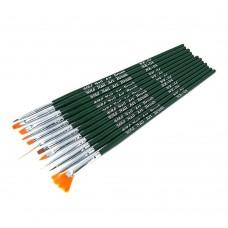 Набор кистей 12шт для рисования зеленая ручка