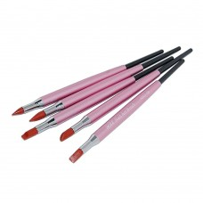 Набор кистей 5шт силиконовые NSKG-00 (розовая ручка)