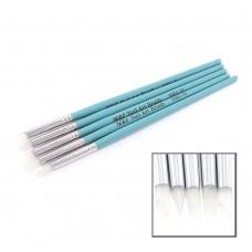 Набор кистей 5шт силиконовые голубая ручка