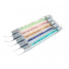 Набор кистей 5шт силиконовые цветная ручка с декором