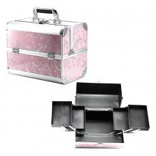 Чемодан-кейс алюминиевый 2629 розовый (перо)