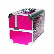 Чемодан-кейс алюминиевый 2629 розовые линии