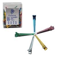 Зажим для волос 50шт металл/цветные/коробка 888